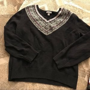 Nordic Collar Black Cable Knit Vintage Sweater
